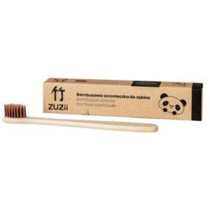 Zuzii, bambusowa szczoteczka do zębów dla dzieci – Brązowa miękka